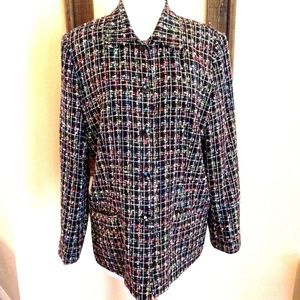 Sag Harbor Tweed Multi Color Button Front Size 12